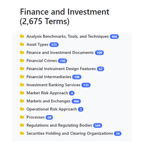 Finance and Investment Taxonomy
