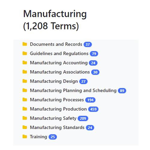 Manufacturing Taxonomy