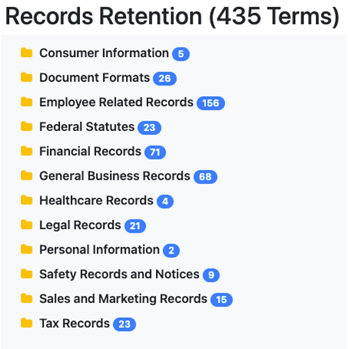 Records Retention Taxonomy