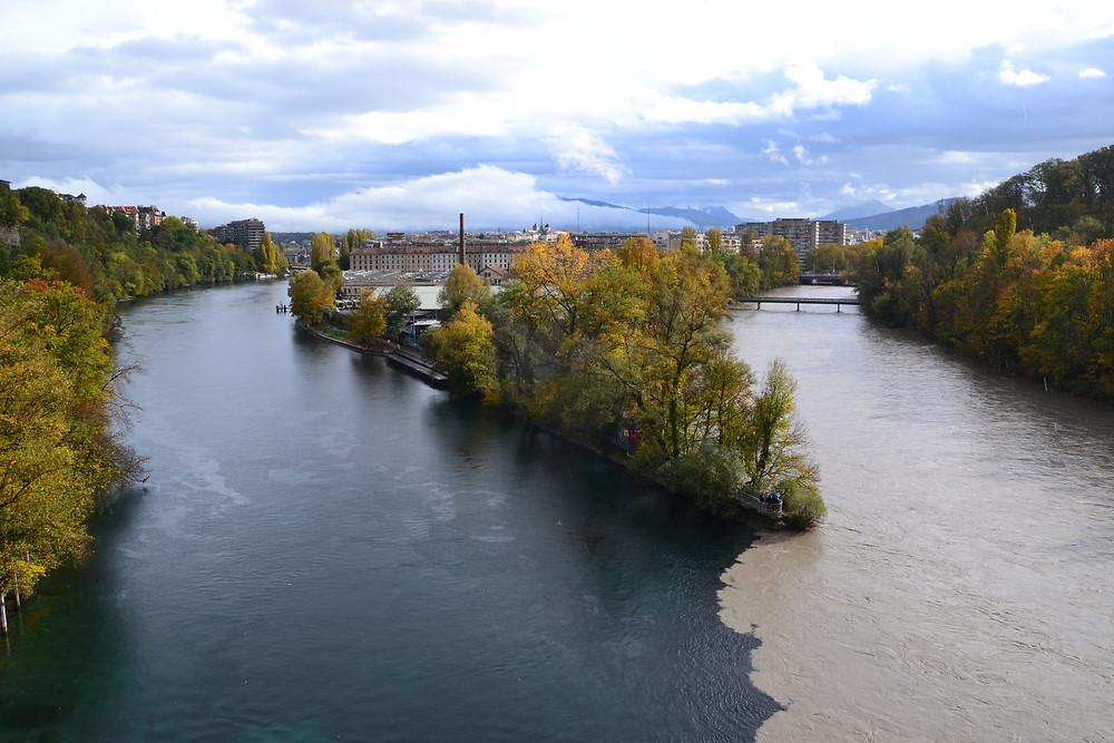 Vue de la jonction du Rhône et de l'Avre depuis le Viaduc de la Jonction - Genève - Novembre 2019