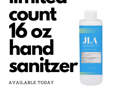 We have limited number of 16 oz hand sanitzer available for purchase and pick up .