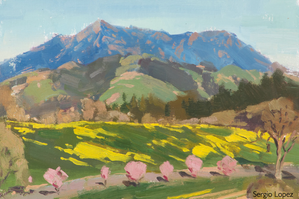 View of the ranch by plein air painter Sergio Lopez
