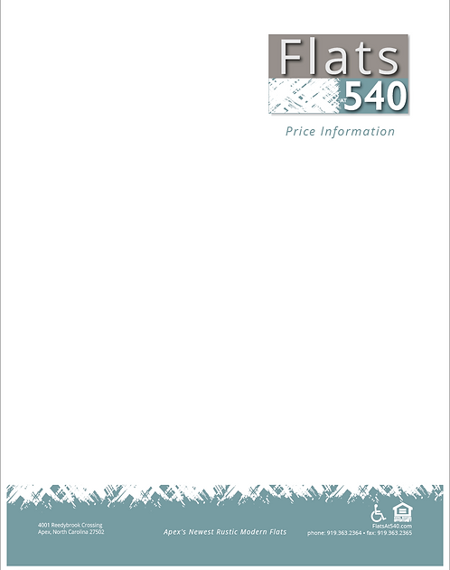 HL - Flats at 540 - Price Sell Sheet