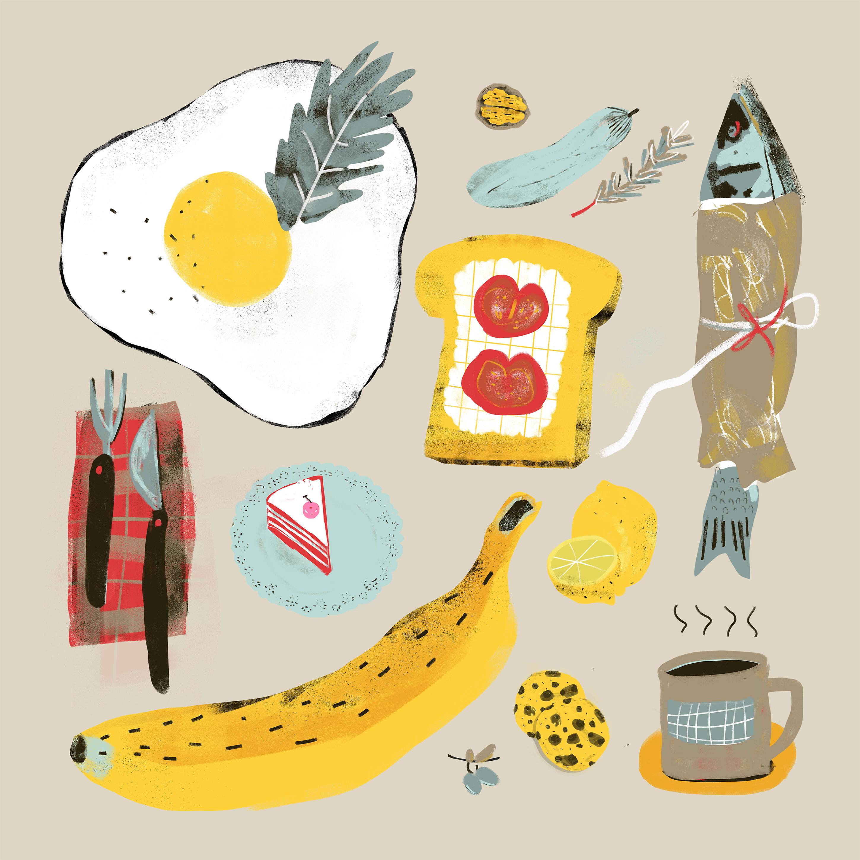 illustriert Abendessen