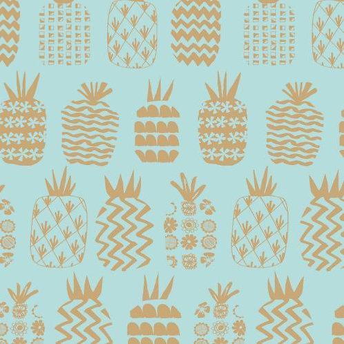 Dashwood Studio Ocean Drive Pineapples with Gold Metallic - Per 0.5m