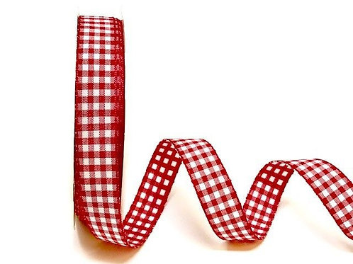 15mm Red Gingham Ribbon
