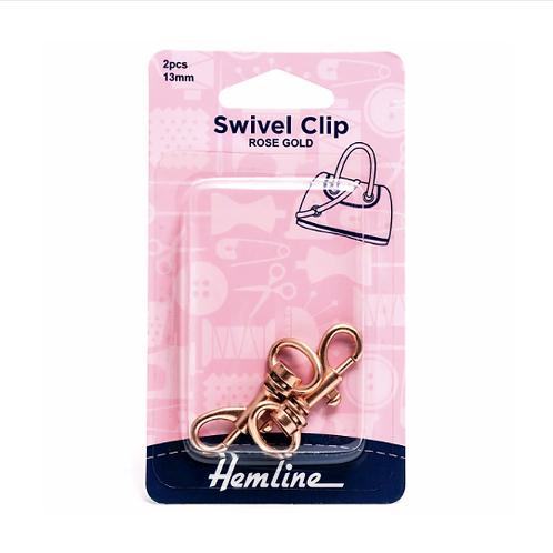 Hemline Pack of 2 Rose Gold Swivel Clip - 13mm