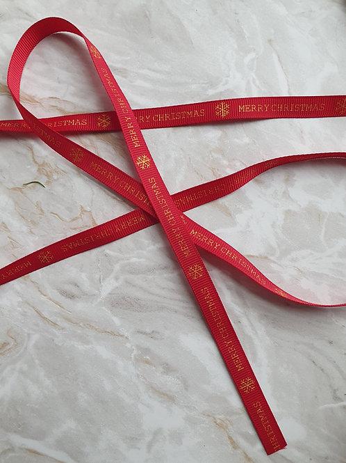 10mm Red Merry Christmas Grosgrain Ribbon - Per Metre