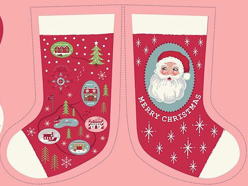Red North Pole Stocking - Per stocking panel