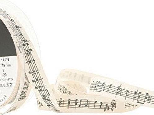 15mm Music Note Ribbon - Per Metre