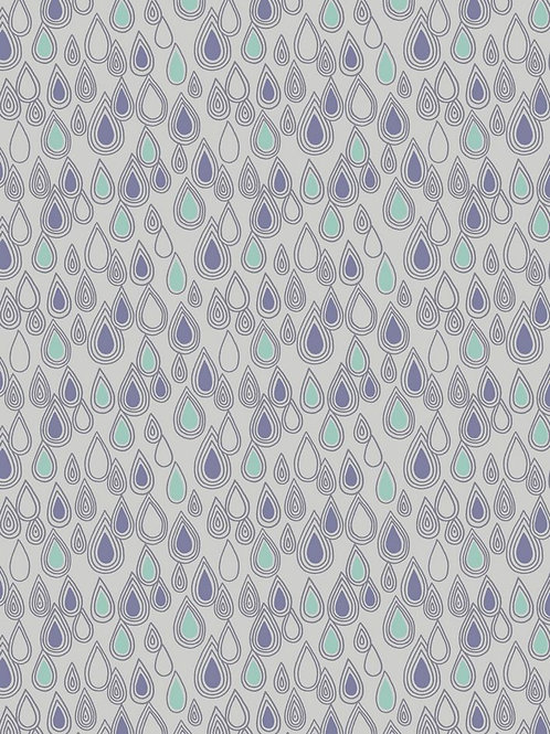 Raindrops on Grey - Per 0.5m