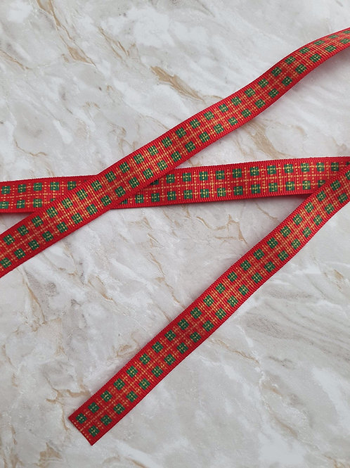 15mm Red and Green Checked Ribbon - Per Metre
