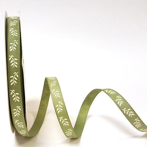 9mm Soft Sage Fern Grosgrain Ribbon