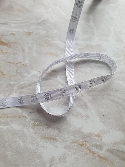 10mm Grey Snowflake Grosgrain Ribbon - Per Metre