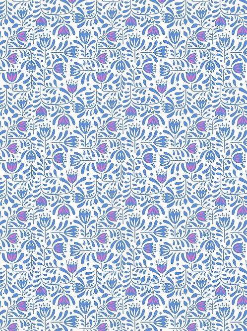 Blue Hann's Flowers - Per 0.5m