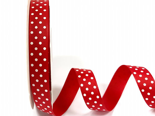 16mm Red with White Spots Grosgrain Ribbon - Per Metre