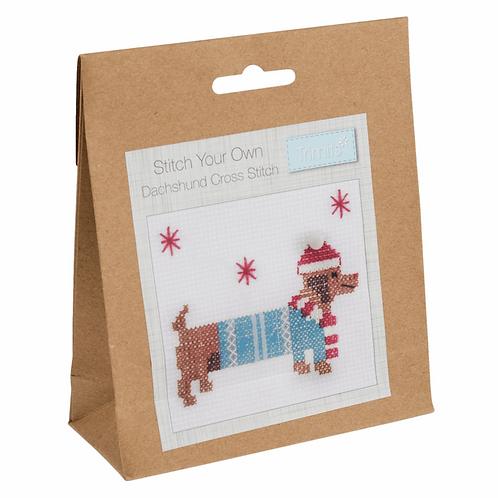 Cross Stitch Dachshund Decoration Kit