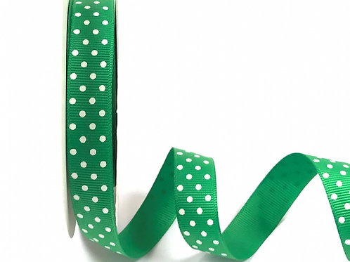 16mm Emerald with White Spots Grosgrain Ribbon - Per Metre