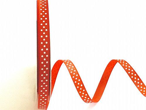9mm Orange with White Spots Grosgrain Ribbon - Per Metre