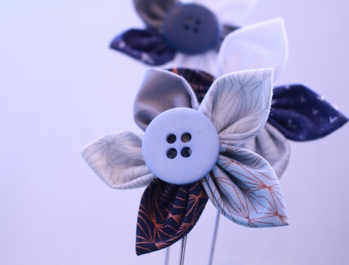 Blue fabric flowers