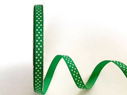 9mm Emerald with White Spots Grosgrain Ribbon - Per Metre