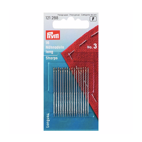 Prym Sharps Hand Sewing Needles - Pack of 16, Size 3