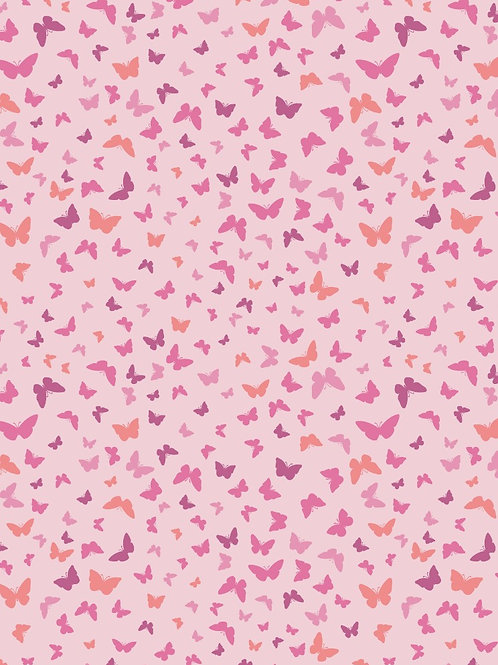 Butterflies on Peaceful Pink - Per 0.5m