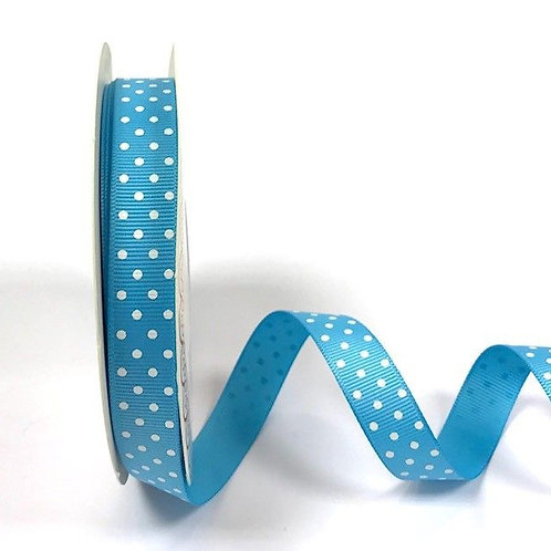16mm Turquoise with White Spots Grosgrain Ribbon - Per Metre
