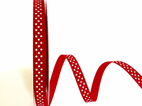 9mm Red with White Spots Grosgrain Ribbon - Per Metre