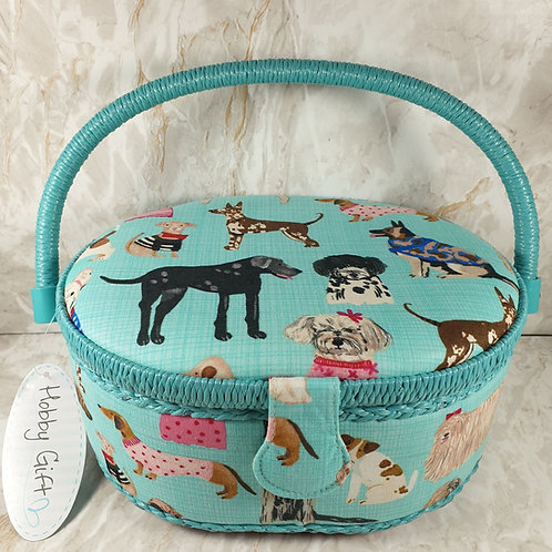 Oval Sewing Box - Dogs in Jumpers