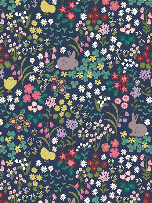 Bunny and chick floral on dark blue per 0.5m