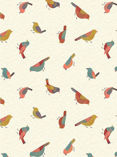 Hedgerow Birds on Cream - Per 0.5m