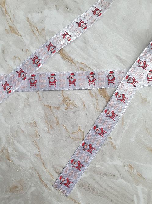 15mm White Santa Ribbon - Per Metre