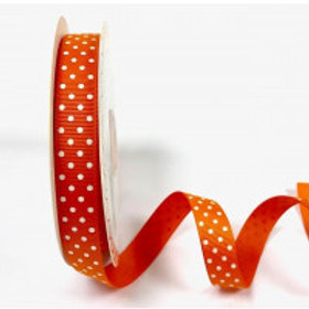 16mm Orange with White Spots Grosgrain Ribbon - Per Metre