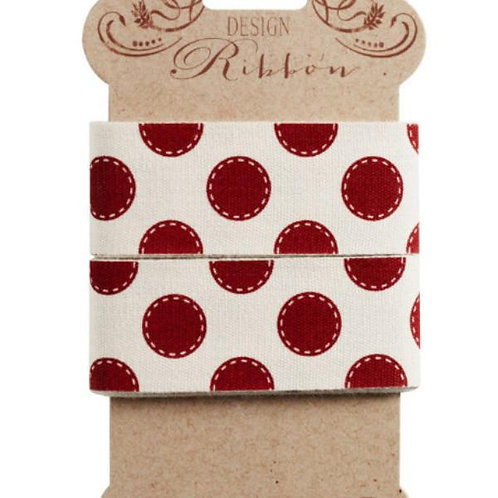 Tilda Ribbon - Red and White Dots