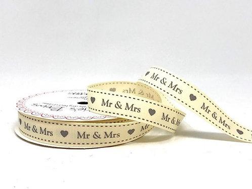 16mm Mr and Mrs Grosgrain Ribbon - Per Metre