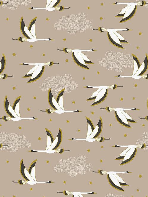 Flying Heron on Beige with Gold Metallic - 0.5m