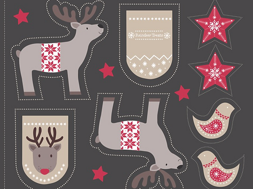 Cut Me Out Reindeer Dark Grey - Per Panel