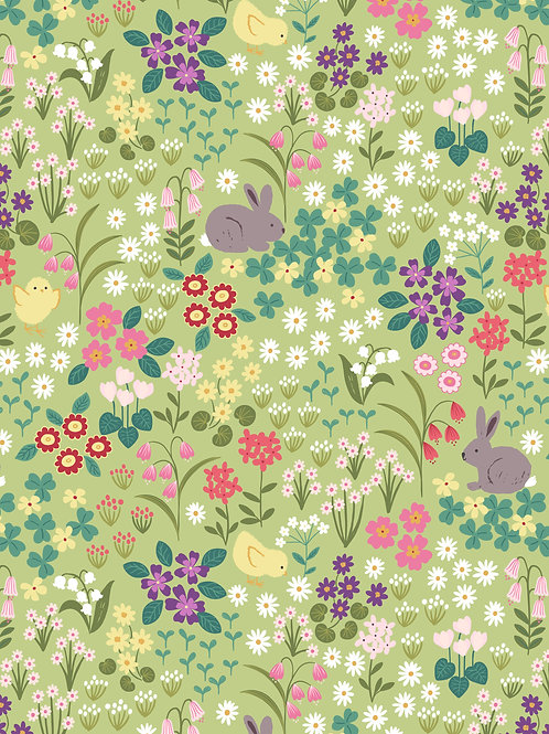 Bunny and chick floral on spring yellow per 0.5m - Bunny Hop