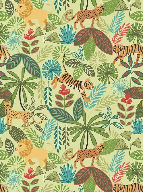 Panthera on Light Green - Per 0.5m