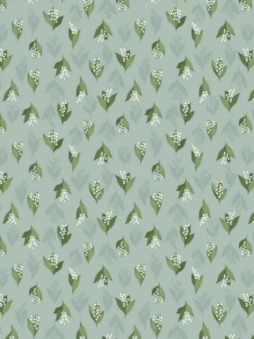 Lily of the Valley on Duck Egg - Per 0.5m