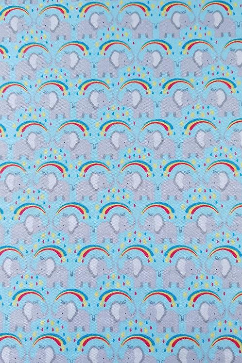 Rainbow Elephants on Blue - 0.5m