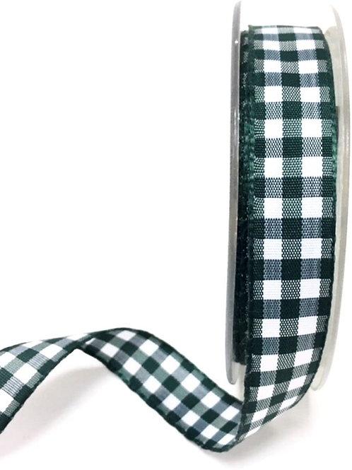 18mm Dark Green Gingham Ribbon - Per Metre