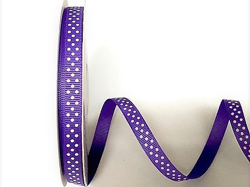 9mm Purple with White Spots Grosgrain Ribbon - Per Metre