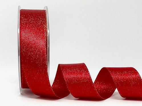 25mm Red Sparkle Satin - Per Metre