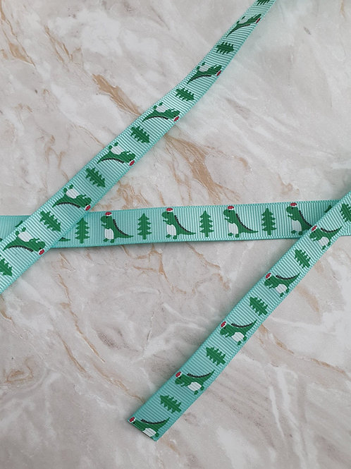 15mm Green Dinosaur and Gift Ribbon - Per Metre