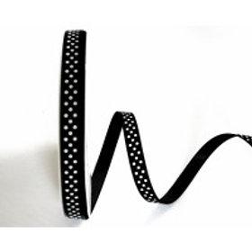 9mm Black with White Spots Grosgrain Ribbon - Per Metre