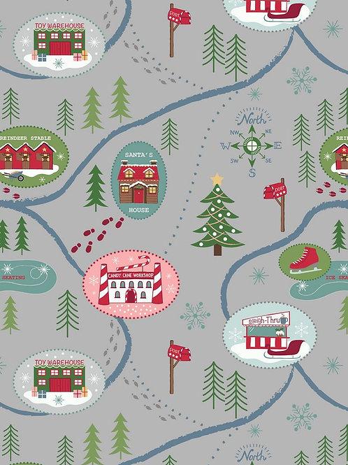 Santa Map on Dark Silver - Per 0.5m