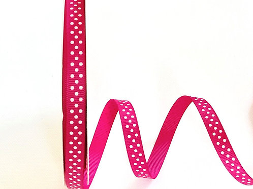 9mm Cerise with White Spots Grosgrain Ribbon - Per Metre