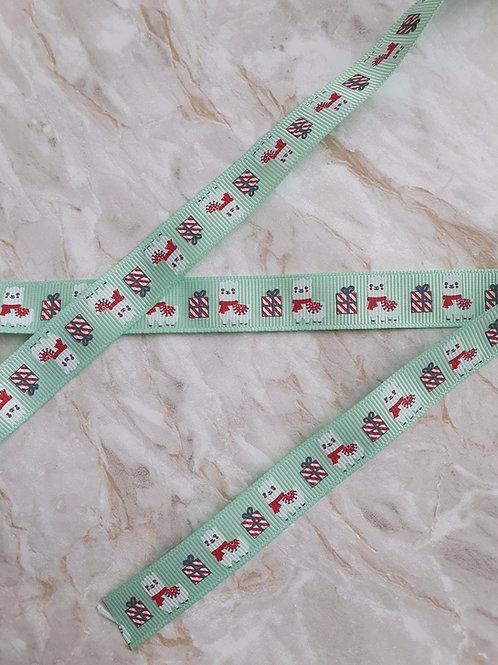 15mm Green Llama and Gifts Grosgrain Ribbon